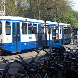 Amsterdam Streetcar by Dee Haun - Transportation Trains ( 2006, blue, white, amsterdam, transportation, netherlands, streetcar )