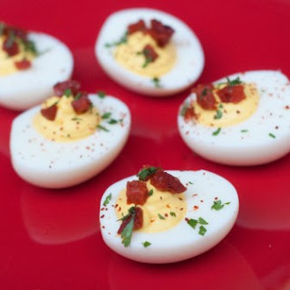 Chorizo, saffron and goat's cheese devilled eggs for Easter