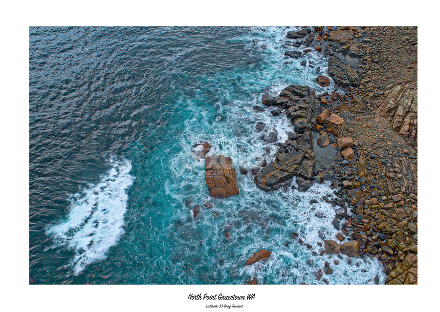 Above by Greg Tennant - Typography Captioned Photos ( coastscean;sea, waves, rocks, aerial, travel, p4p )