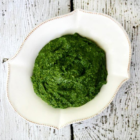 Clean Eating Spinach Pesto (Raw, Vegan, Gluten-Free, Dairy-Free, Paleo-Friendly)