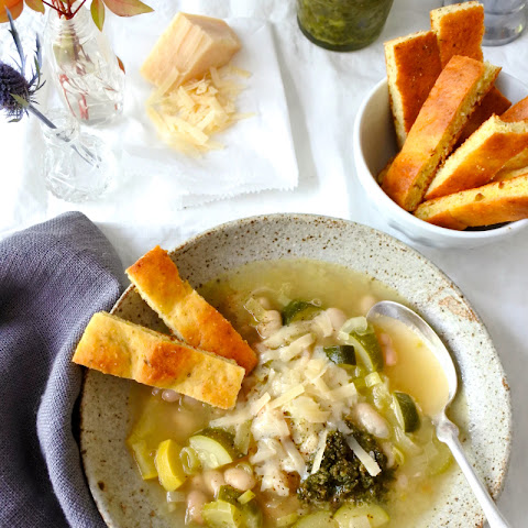Cannellini Bean-Vegetable Soup with Pistou and Black Pepper Cornbread Sticks