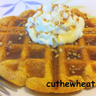 Pumpkin Spice Waffles with Maple Whipped Cream and Pecans