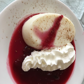 Panna Cotta and Berry jus with cream by Dawn Simpson - Food & Drink Candy & Dessert ( dessert, cream, panna cotta, berries, summer )