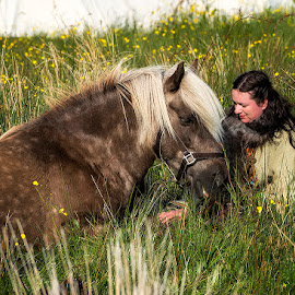 Friends by Janne Monsen - Animals Horses ( friends, girl, horse, summer, norway )