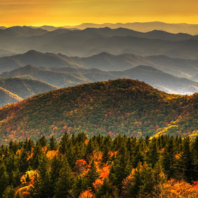 Cowee Mountains by Serge Skiba - Landscapes Mountains & Hills ( mountain biking, blue ridge parkway, cowee, valley, hiking, north carolina, backpacking, overlook, mountains, brevard, ridges, autumn, camping, biking, foliage, trees )
