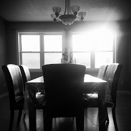 Dining Room by Darian Hughes - Artistic Objects Furniture ( dining room, window, chairs, black and white, table )