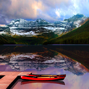 by Gerry Slabaugh - Transportation Boats ( reflection, mountain, park, waterton, canadian rockies, national, canoe, cameron, lake, boat, cameron lake, dock, waterton national park,  )
