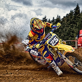 Great Action & Fun ! by Marco Bertamé - Sports & Fitness Motorsports ( curve, clouds, drifting, slittering, twenty-five, number, fun, yellow, 25, race, motocross, dust, action, clumps, alone, accelerating, competition,  )