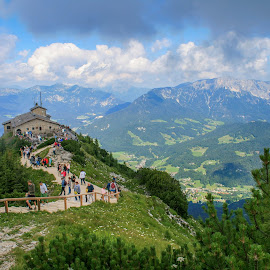 Kehlsteinhaus (Eagle's Nest) by Sebastien Brenci - Novices Only Landscapes ( eagle, mountain, sky, blue, nest, germany, travel, landscape, people )