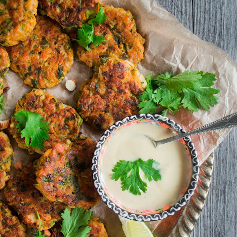 Gluten-Free Zucchini Sweet Potatoes and Chicken Fritters With Honey Mustard Yogurt Dip