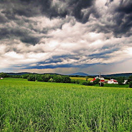 Spring Storms by Tony Bendele - Landscapes Prairies, Meadows & Fields ( thunderstorm )