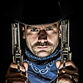 The man you don't want to mess with by Florin Marksteiner - People Portraits of Men ( guns, cowboy, silver, scarf, revolver, wild west,  )