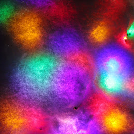 Christmas Lights Under Snow by H Scott Burd - Abstract Macro ( multicolored bright )