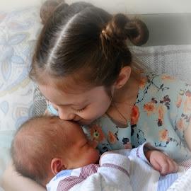 love by Susan Davies - Babies & Children Child Portraits ( love, kiss, girl, tenderness, infant, baby, baby boy, newborn )