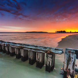 Beauty sundown by Nicole Rix - Landscapes Sunsets & Sunrises ( clouds, fence, sand, sky, sunset, beach, seascape, colours )