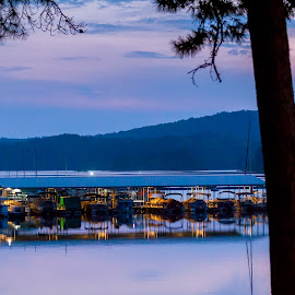 Lake Ouachita at Dusk by Jennifer  Loper  - City,  Street & Park  Night ( marina, mountains, state park, pink sunset, lake ouachita, lights )