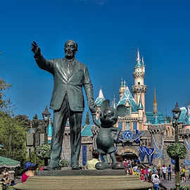 Disney at the Entrance to Fantasyland  by Tom Anderson - Buildings & Architecture Statues & Monuments ( anaheim, february 2016, california, disneyland, disney california adventure )