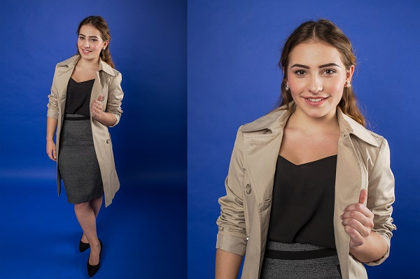 Woman in heels, office wear and trench coat