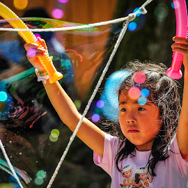 The Art of Bubble Making by Garry Dosa - Babies & Children Children Candids ( civic holiday, person, girl, celebrations, bubbles, august, fun, people, colours, KidsOfSummer )