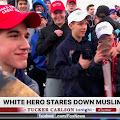 White Hero Bravely Stares Down Muslim Guy
