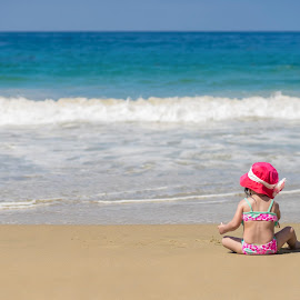 The Beach by Linh Tat - People Street & Candids ( child, sand, swimsuit, wave, beach, morning )