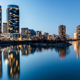 Skyscrapers Reflections by Vanko Dimitrov - City,  Street & Park  Night ( lights, smooth, skyscraper, reflections, lake, nightscape,  )