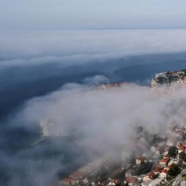 Dubrovnik in fog by Miho Kulušić - City,  Street & Park  Historic Districts ( foggy, dubrovnik, waterscape, fog, weather, stone, landscape,  )
