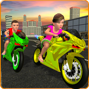 Kids MotorBike Rider Race 3D For PC (Windows / Mac)