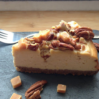 New York style cheesecake with toffee, fudge, and pecans