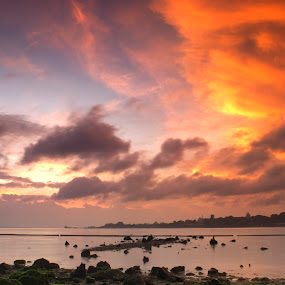 Burning The Skies Above by Jerome Tan - Landscapes Waterscapes