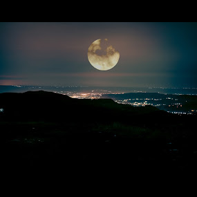 My Super Moon by Andreea Alexe - Landscapes Mountains & Hills ( car, moon, once in a lifetime, sky, reach for the moon, super moon, rise, light trails, full moon, night, long exposure, november 14th, view, sleepless,  )