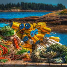 Downeast Dock by Chris Cavallo - Artistic Objects Industrial Objects ( east coast, maine, ocean, fishing, atlantic ocean, sea, bouy,  )