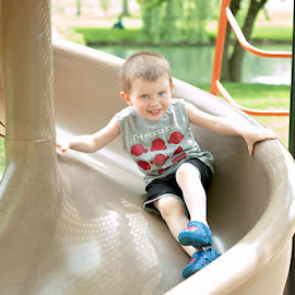 Summer Fun by Michelle Shutt - Babies & Children Toddlers ( playground, freedom, growing, fun, summer fun, toddlers, little boy, boys, parks, innocence, slide, toddler, cutie, KidsOfSummer )