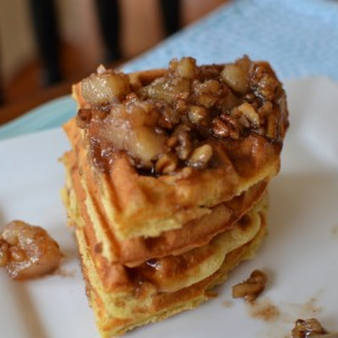Buttermilk Waffles with Pecan Pear Sauce