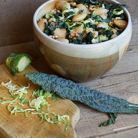 Black Kale, White Bean, & Brussels Sprouts Salad with Lemon-Saffron Dressing