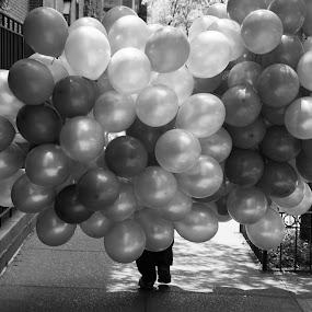 Balloons  by VAM Photography - City,  Street & Park  Street Scenes ( b&w, nyc, balloons, street photography,  )