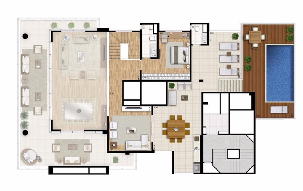 Cobertura Duplex Superior - 4 suítes - 448m² - Torre Nero