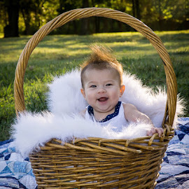 Baby in a basket by Janice Poole - Babies & Children Babies