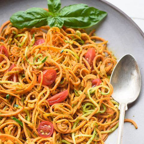 Spiralized Sweet Potato Salad with Pesto