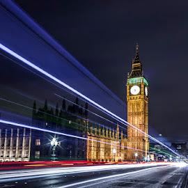 Big Ben - London by Emanuel Ribeiro - City,  Street & Park  Night ( city at night, street at night, park at night, nightlife, night life, nighttime in the city )