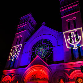 DePaul University Church by Sue Conwell - Buildings & Architecture Places of Worship ( student light display, church, depaul university, light display, chicago, depaul )