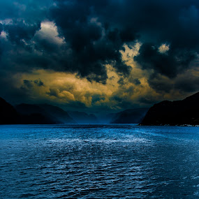 Dark Fjord Norway by Teus Renes - Landscapes Waterscapes ( clouds, water, mountains, blue, dark, sea, storm, norway, fjord )