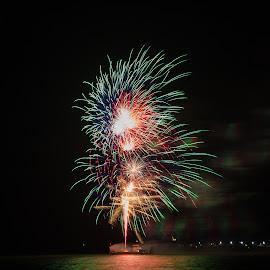 31122017_3752 by Deborah Bisley - Abstract Fire & Fireworks ( water, colour, lights, barge, sea, fireworks, ocean, smoke )