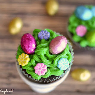 Easter Eggs in the Grass Chocolate Cupcakes