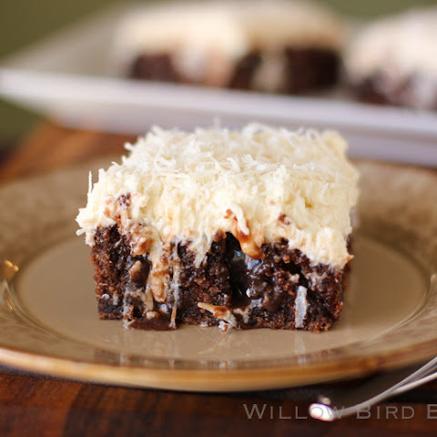Chocolate Poke Cake with Whipped Coconut Icing