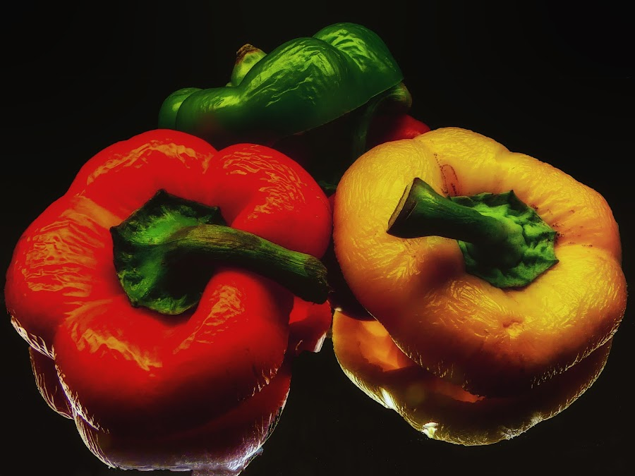 Red, Green, and Yellow Peppers by Dave Walters - Food & Drink Fruits & Vegetables ( macro, peppers, nature, colors, food, vegetables, lumix fz2500 )