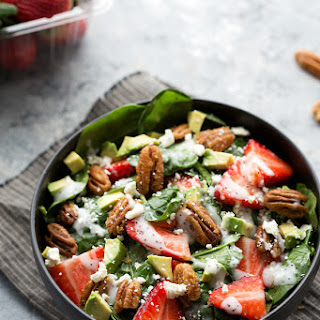 Strawberry and Avocado Spinach Salad with Candied Pecans