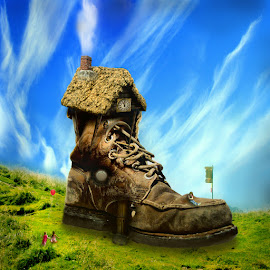 There Was An Old Woman... by Gene Lybarger - Digital Art Things ( fantasy, fairy tale, old shoe, magical, artistic )