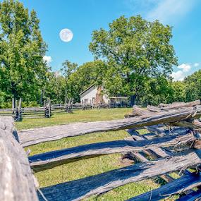 by Jim Harris - Landscapes Prairies, Meadows & Fields ( countryside, cabin, fence, moon, meadow )