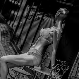 Doll black and white by Finn Christiansen - City,  Street & Park  Markets & Shops ( doll, black and white, city life )